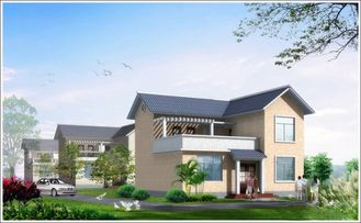China 2 Story Light Steel Prefabricated Woden house , White Prefab Steel House For Living supplier
