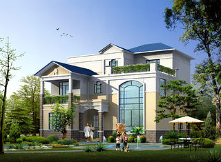 China Prefabricated House, Prefabricated Rural Villa With Light Steel Frame supplier