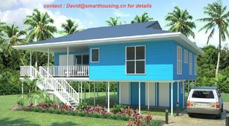 China Fireproof Two-Story Prefab Beach Bungalow , Blue Home Beach Bungalows supplier