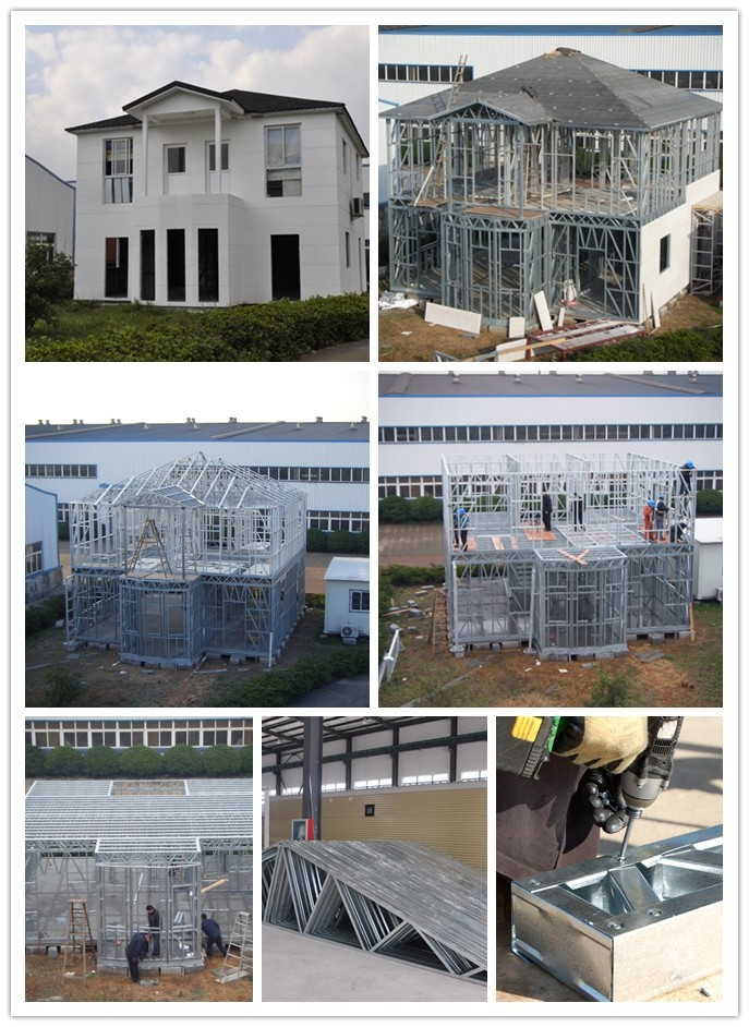 2 Story prefabricated Light Steel Frame Houses , 3 Bedrooms Light Steel Frame Houses
